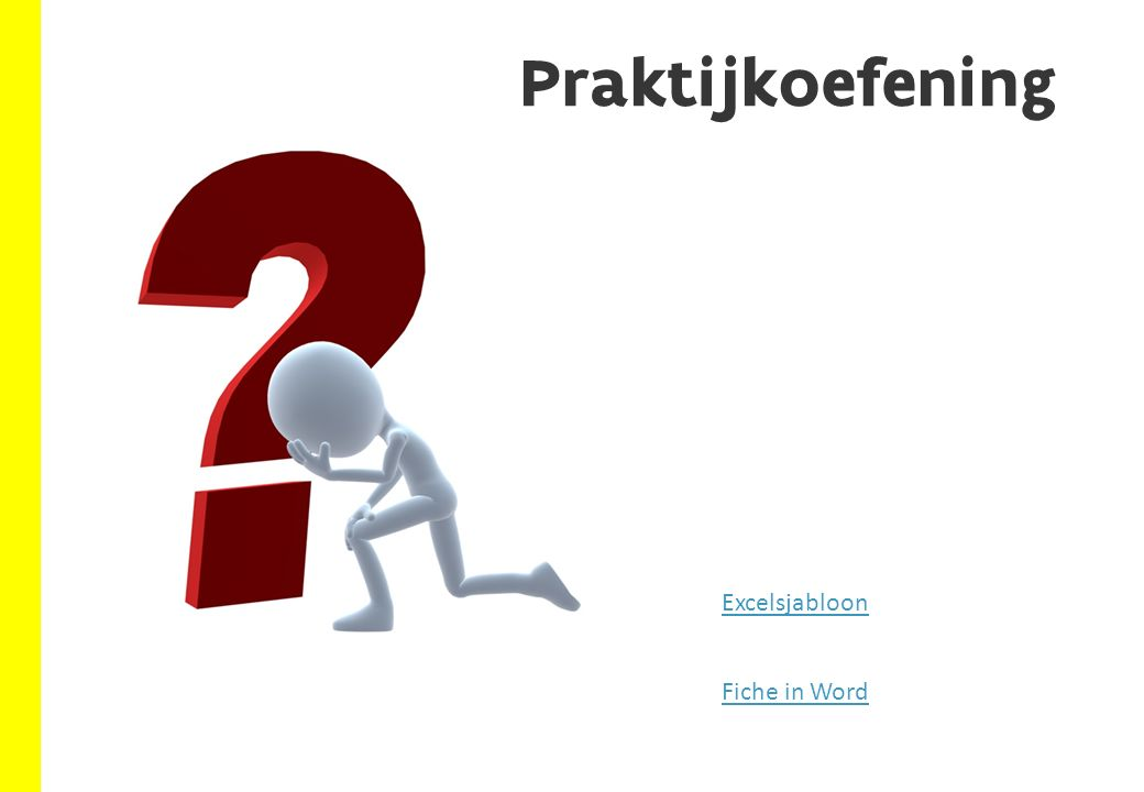 Praktijkoefening Fiche in Word Excelsjabloon
