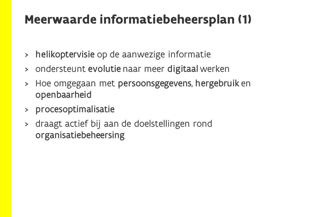  Doel:  Vertrouwd maken met de methodologie van het opstellen van een informatiebeheersplan  Fictief agentschap met 4 afdelingen  Ondersteuning  Inspectie  Beleid- en coördinatie  Uitvoering en beheer Opzet van de oefening