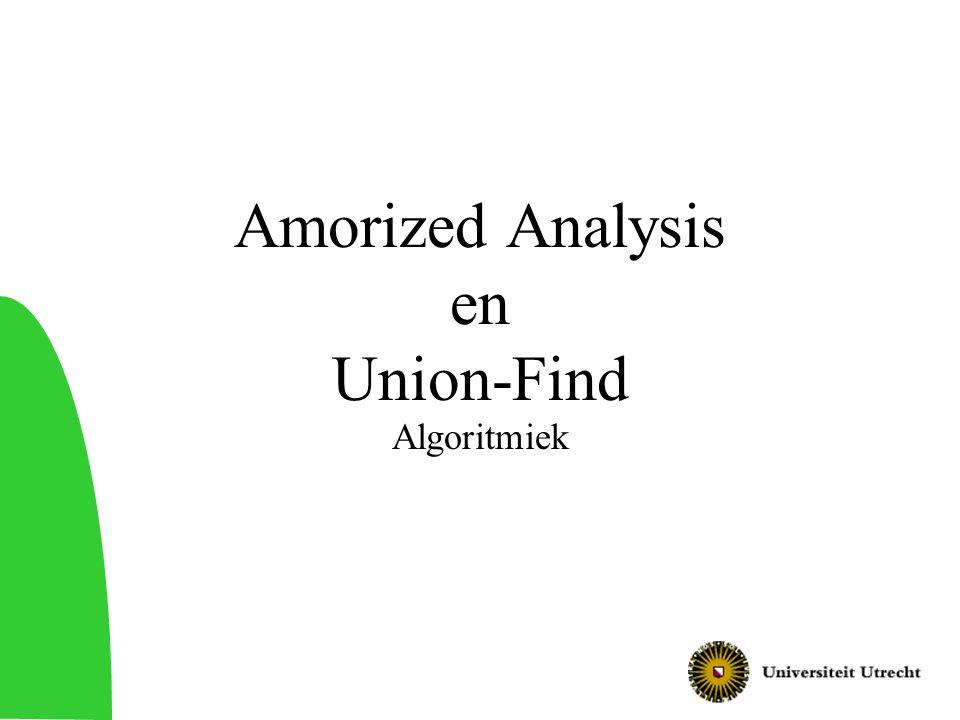 2 Vandaag Amortized analysis –Technieken voor tijdsanalyse van algoritmen Union-find datastructuur –Datastructuur voor operaties op disjuncte verzamelingen –Verschillende oplossingen –Analyse van uiteindelijke oplossing –Toepassing