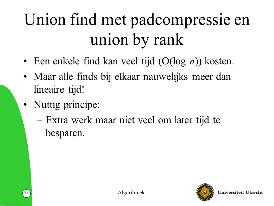 Algoritmiek55 Union find met padcompressie en union by rank Een enkele find kan veel tijd (O(log n)) kosten.