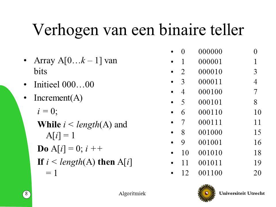 Algoritmiek9 Amortized analyse van binaire teller Een enkele operatie kan O(k) tijd kosten.