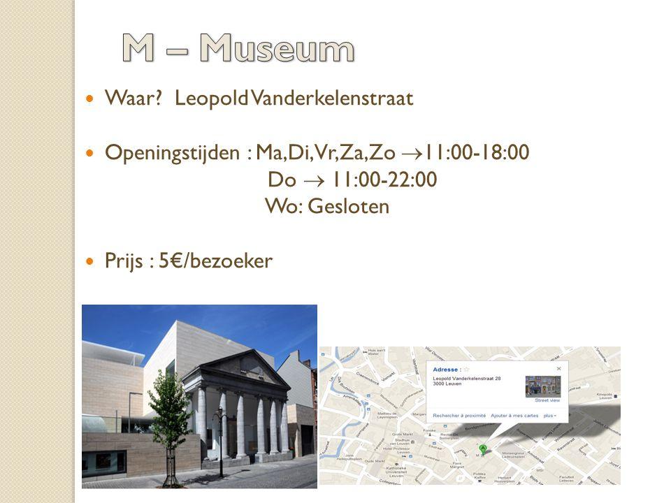 Waar? Leopold Vanderkelenstraat Openingstijden : Ma,Di,Vr,Za,Zo  11:00-18:00 Do  11:00-22:00 Wo: Gesloten Prijs : 5€/bezoeker
