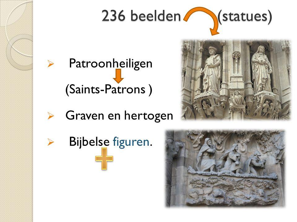 236 beelden (statues) 236 beelden (statues)  Patroonheiligen (Saints-Patrons )  Graven en hertogen  Bijbelse figuren.