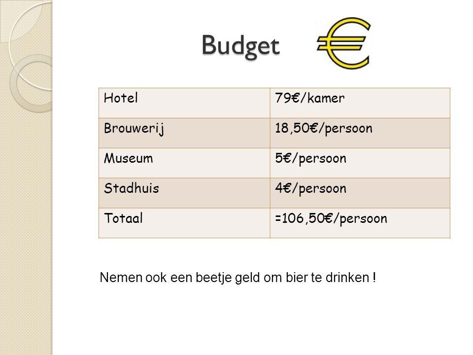 Budget Budget Hotel79€/kamer Brouwerij18,50€/persoon Museum5€/persoon Stadhuis4€/persoon Totaal=106,50€/persoon Nemen ook een beetje geld om bier te drinken !