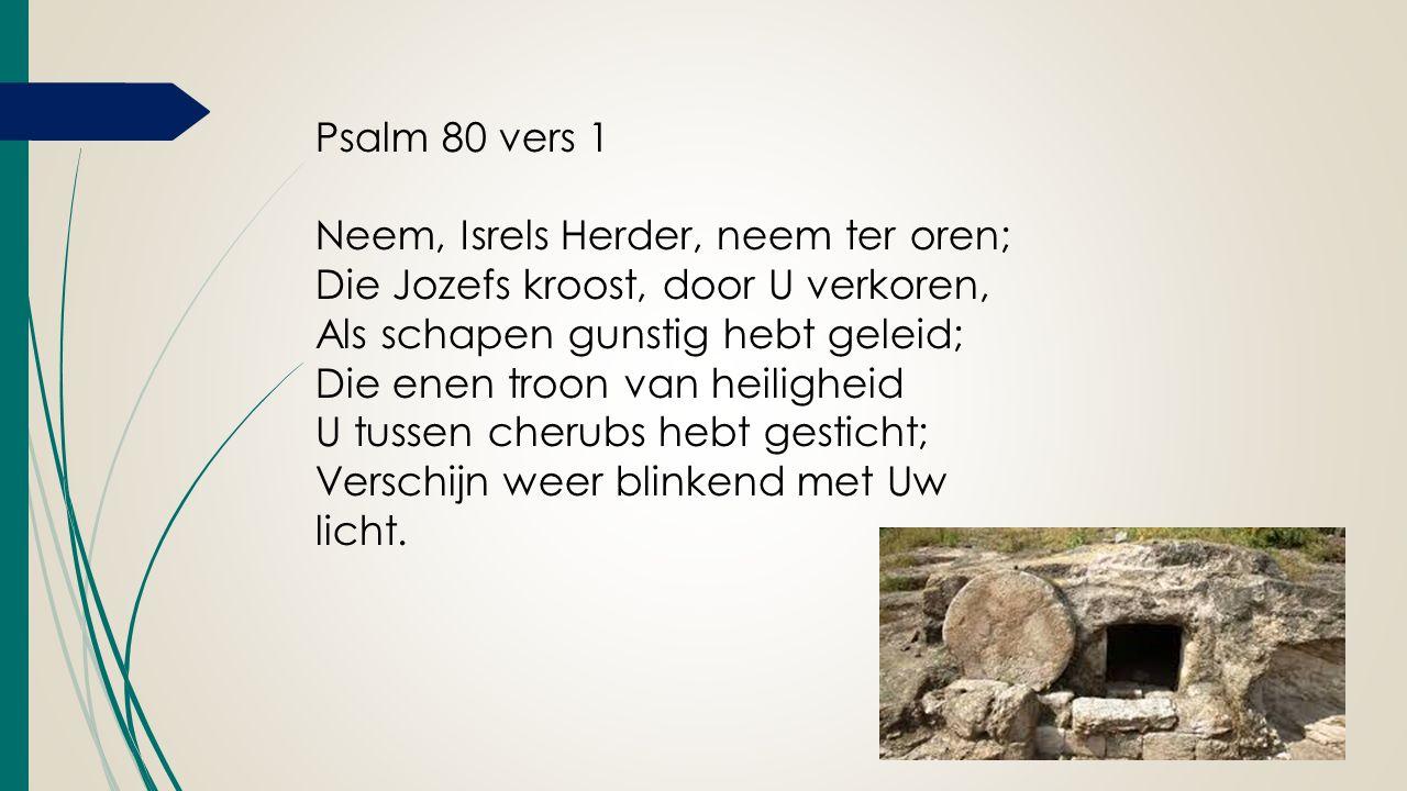 Psalm 80 vers 1 Neem, Isrels Herder, neem ter oren; Die Jozefs kroost, door U verkoren, Als schapen gunstig hebt geleid; Die enen troon van heiligheid U tussen cherubs hebt gesticht; Verschijn weer blinkend met Uw licht.