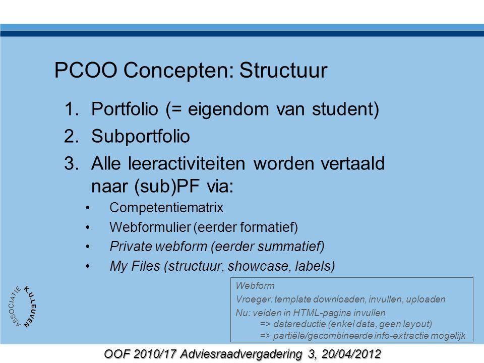 OOF 2010/17 Adviesraadvergadering 3, 20/04/2012 PCOO Concepten: Structuur 1.Portfolio (= eigendom van student) 2.Subportfolio 3.Alle leeractiviteiten worden vertaald naar (sub)PF via: Competentiematrix Webformulier (eerder formatief) Private webform (eerder summatief) My Files (structuur, showcase, labels) Webform Vroeger: template downloaden, invullen, uploaden Nu: velden in HTML-pagina invullen => datareductie (enkel data, geen layout) => partiële/gecombineerde info-extractie mogelijk