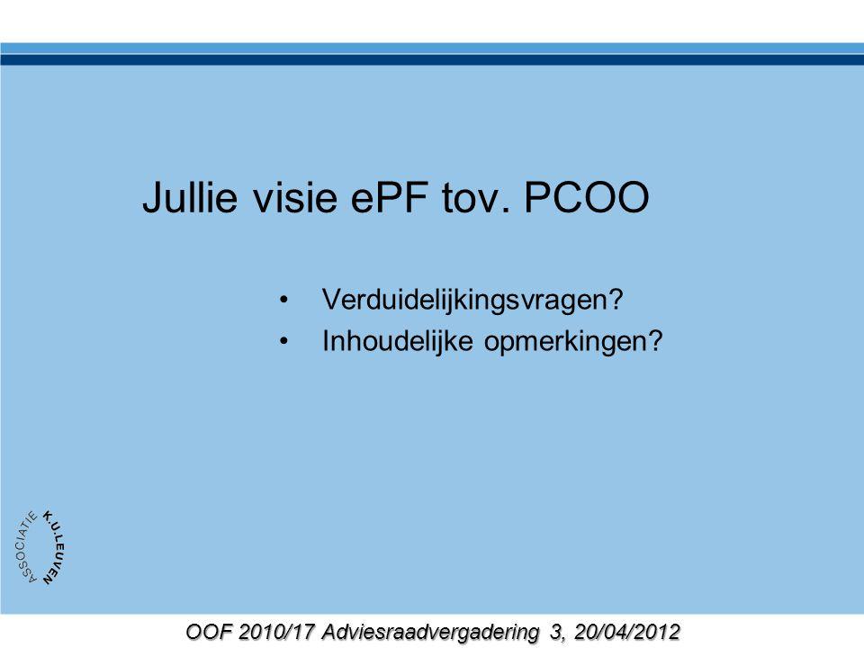 OOF 2010/17 Adviesraadvergadering 3, 20/04/2012 Jullie visie ePF tov. PCOO Verduidelijkingsvragen? Inhoudelijke opmerkingen?