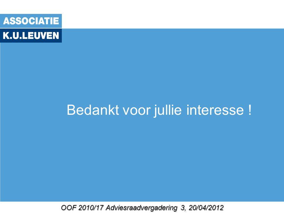 OOF 2010/17 Adviesraadvergadering 3, 20/04/2012 Bedankt voor jullie interesse !