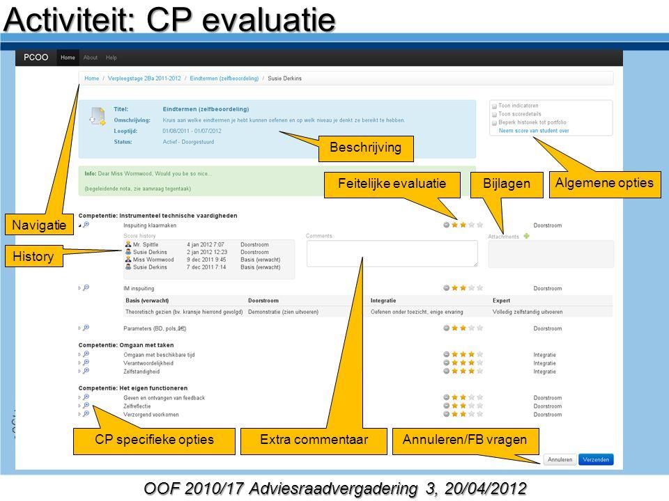 OOF 2010/17 Adviesraadvergadering 3, 20/04/2012 Beschrijving Activiteit: CP evaluatie Navigatie Algemene opties CP specifieke opties History Extra com