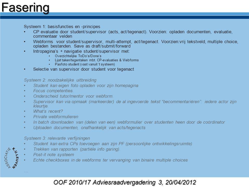 OOF 2010/17 Adviesraadvergadering 3, 20/04/2012 Systeem 1: basisfuncties en -principes CP evaluatie door student/supervisor (acts, act/tegenact). Voor