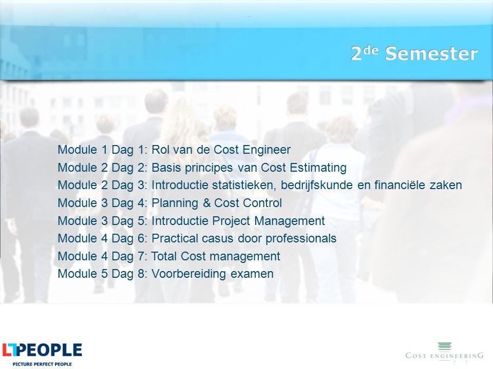 www.lt-people.nl Module 1 Dag 1: Rol van de Cost Engineer Module 2 Dag 2: Basis principes van Cost Estimating Module 2 Dag 3: Introductie statistieken