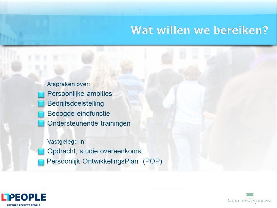 www.lt-people.nl Afspraken over: Persoonlijke ambities Bedrijfsdoelstelling Beoogde eindfunctie Ondersteunende trainingen Vastgelegd in: Opdracht, stu