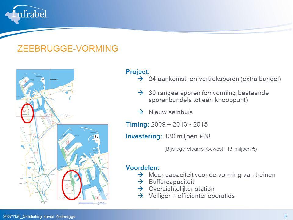 20071130_Ontsluiting haven Zeebrugge5 ZEEBRUGGE-VORMING Project:  24 aankomst- en vertreksporen (extra bundel)  30 rangeersporen (omvorming bestaande sporenbundels tot één knooppunt)  Nieuw seinhuis Timing: 2009 – 2013 - 2015 Investering: 130 miljoen €08 (Bijdrage Vlaams Gewest: 13 miljoen €) Voordelen:  Meer capaciteit voor de vorming van treinen  Buffercapaciteit  Overzichtelijker station  Veiliger + efficiënter operaties
