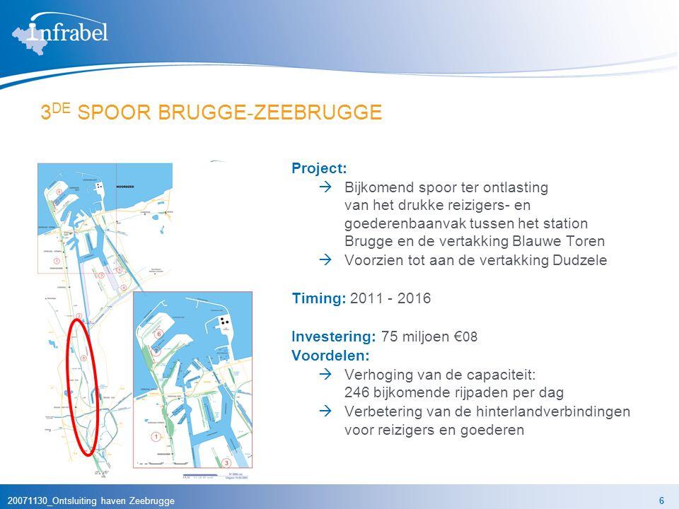 20071130_Ontsluiting haven Zeebrugge6 3 DE SPOOR BRUGGE-ZEEBRUGGE Project:  Bijkomend spoor ter ontlasting van het drukke reizigers- en goederenbaanvak tussen het station Brugge en de vertakking Blauwe Toren  Voorzien tot aan de vertakking Dudzele Timing: 2011 - 2016 Investering: 75 miljoen € 08 Voordelen:  Verhoging van de capaciteit: 246 bijkomende rijpaden per dag  Verbetering van de hinterlandverbindingen voor reizigers en goederen