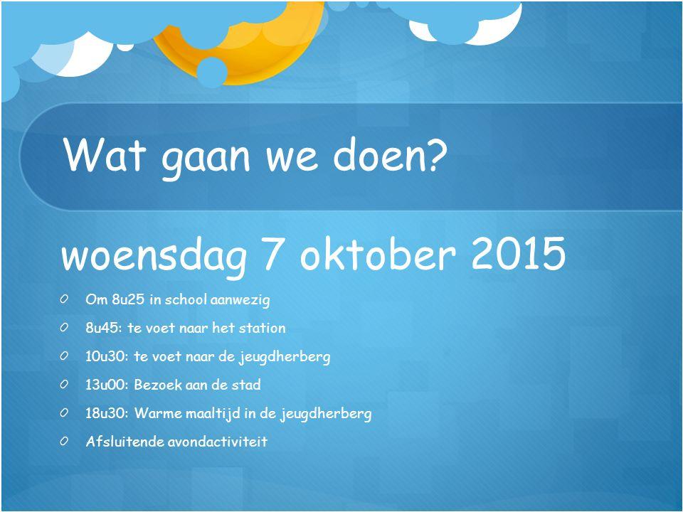 Wat gaan we doen? woensdag 7 oktober 2015 Om 8u25 in school aanwezig 8u45: te voet naar het station 10u30: te voet naar de jeugdherberg 13u00: Bezoek
