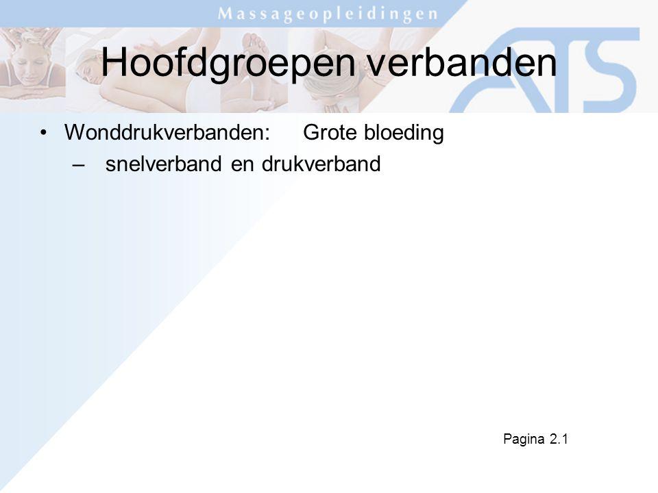 Hoofdgroepen verbanden Wonddrukverbanden:Grote bloeding –snelverband en drukverband Pagina 2.1