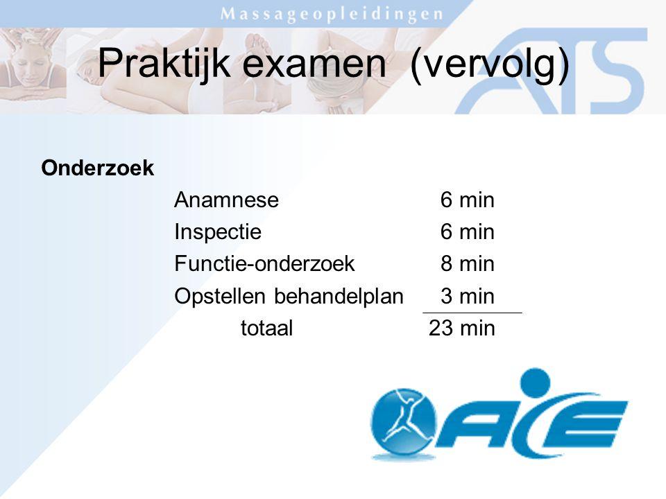 Praktijk examen (vervolg) Onderzoek Anamnese6 min Inspectie6 min Functie-onderzoek8 min Opstellen behandelplan3 min totaal 23 min