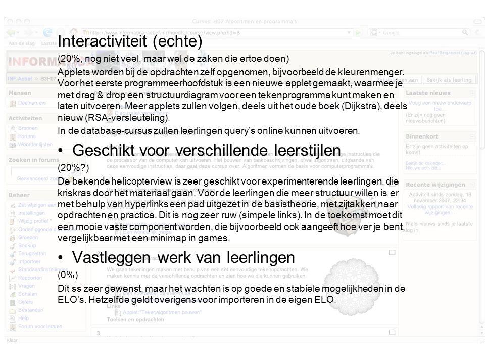 Interactiviteit (echte) (20%, nog niet veel, maar wel de zaken die ertoe doen) Applets worden bij de opdrachten zelf opgenomen, bijvoorbeeld de kleurenmenger.