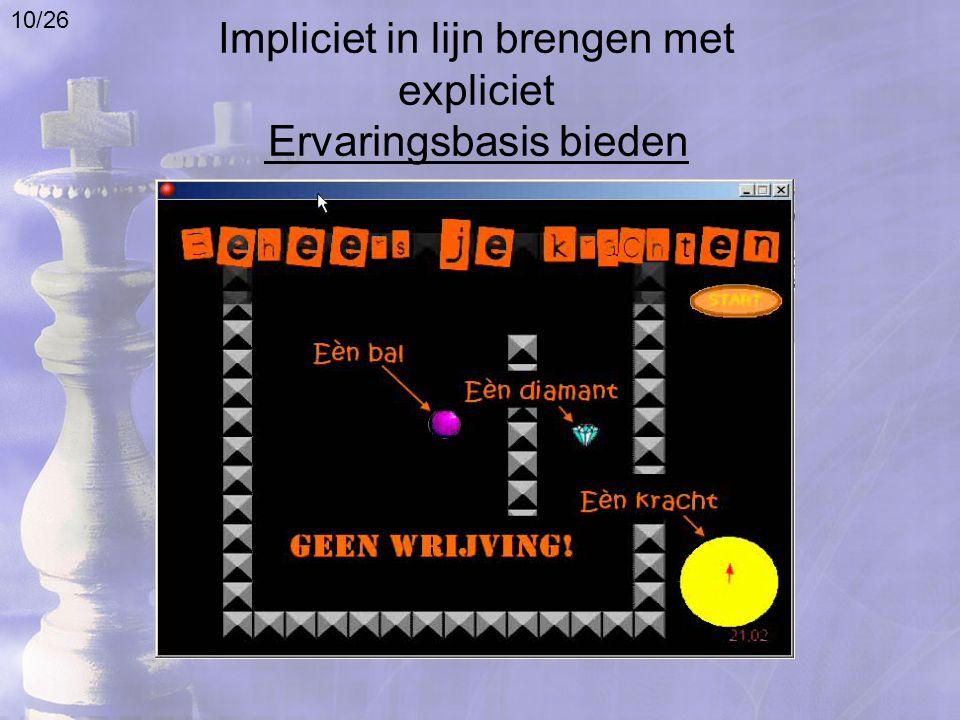 Impliciet in lijn brengen met expliciet Ervaringsbasis bieden 10/26