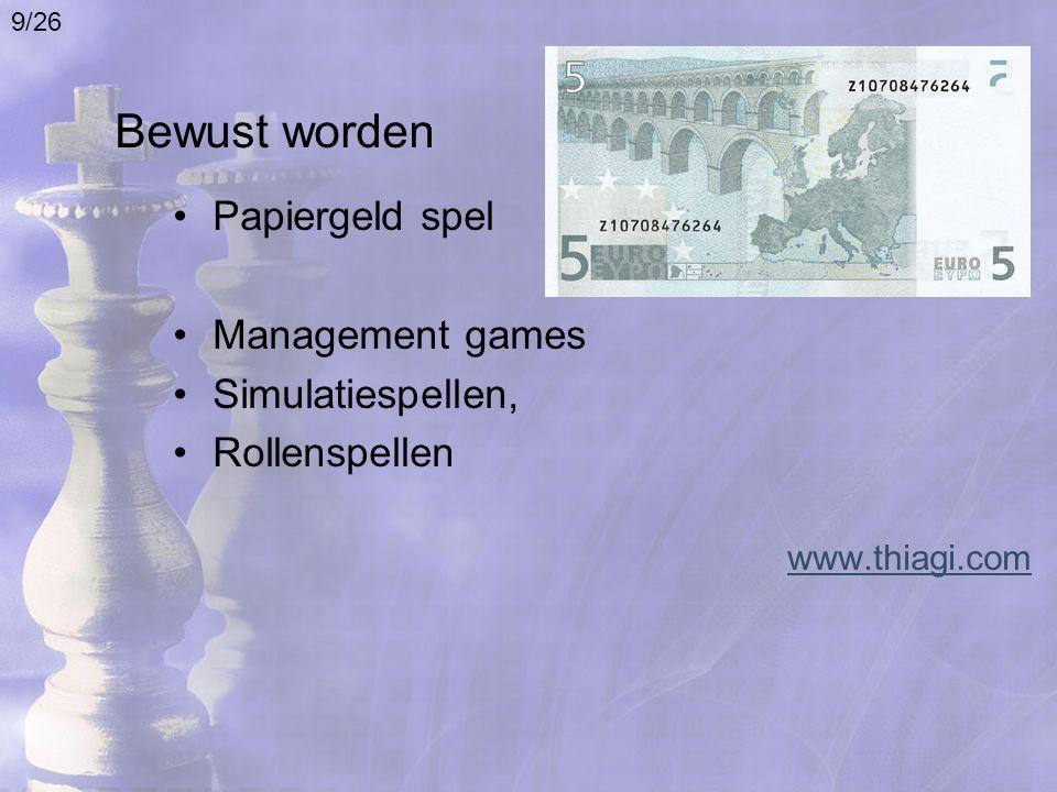 Bewust worden Papiergeld spel Management games Simulatiespellen, Rollenspellen www.thiagi.com 9/26