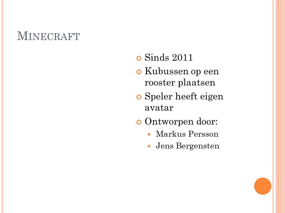M INECRAFT Sinds 2011 Kubussen op een rooster plaatsen Speler heeft eigen avatar Ontworpen door: Markus Persson Jens Bergensten