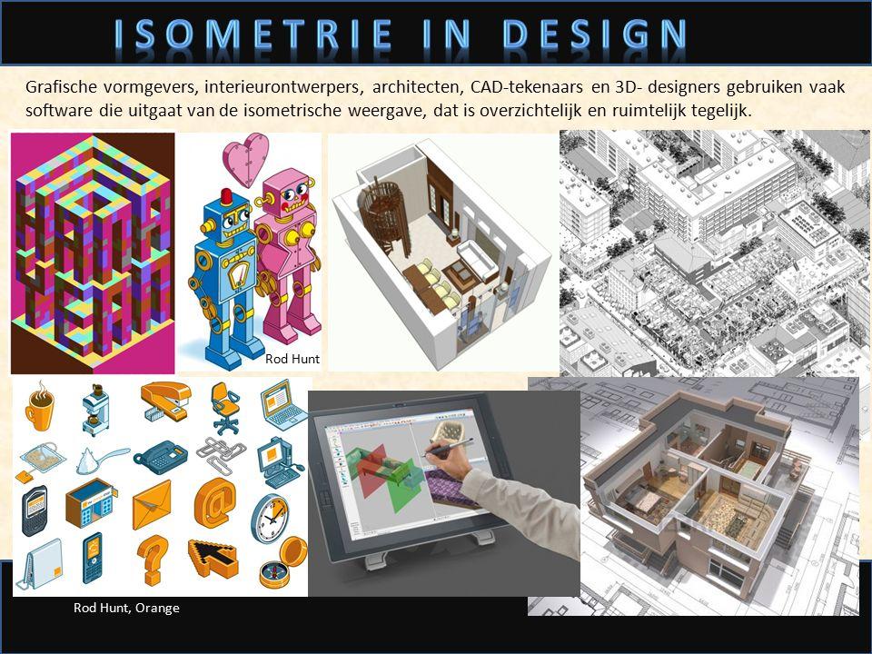 Grafische vormgevers, interieurontwerpers, architecten, CAD-tekenaars en 3D- designers gebruiken vaak software die uitgaat van de isometrische weergav