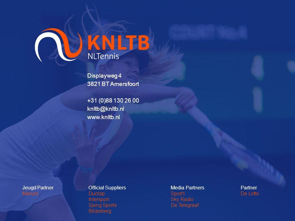 Displayweg 4 3821 BT Amersfoort +31 (0)88 130 26 00 knltb@knltb.nl www.knltb.nl Jeugd Partner Menzis Official Suppliers Dunlop Intersport Sjeng Sports