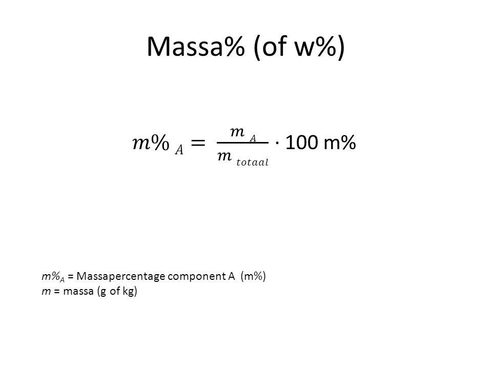 Massa% (of w%) m% A = Massapercentage component A (m%) m = massa (g of kg)