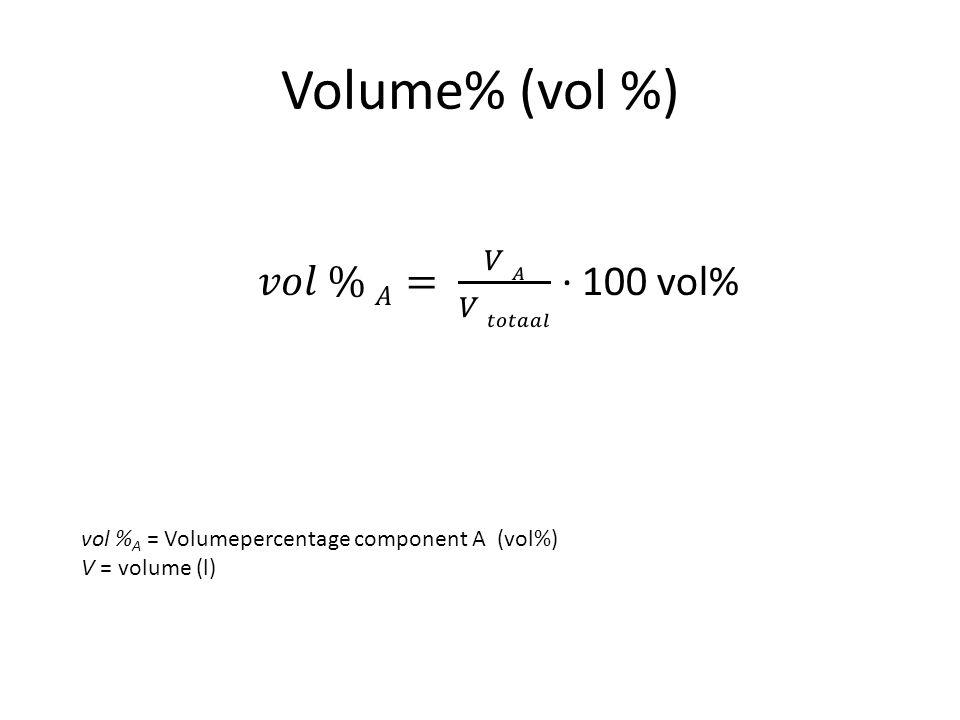 Volume% (vol %) vol % A = Volumepercentage component A (vol%) V = volume (l)