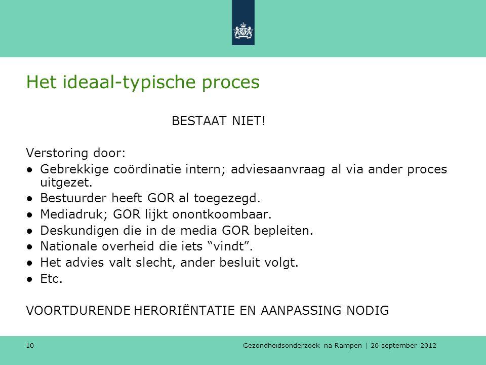 Gezondheidsonderzoek na Rampen | 20 september 2012 10 Het ideaal-typische proces BESTAAT NIET.