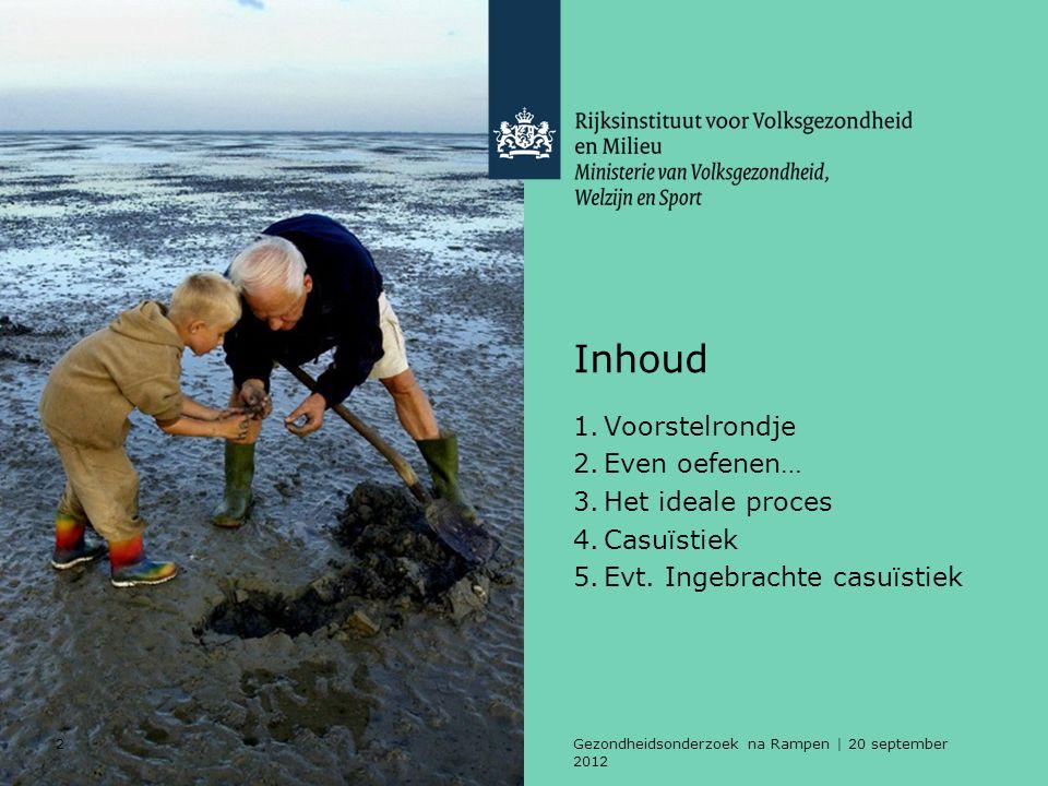 2Gezondheidsonderzoek na Rampen | 20 september 2012 Inhoud 1.Voorstelrondje 2.Even oefenen… 3.Het ideale proces 4.Casuïstiek 5.Evt.