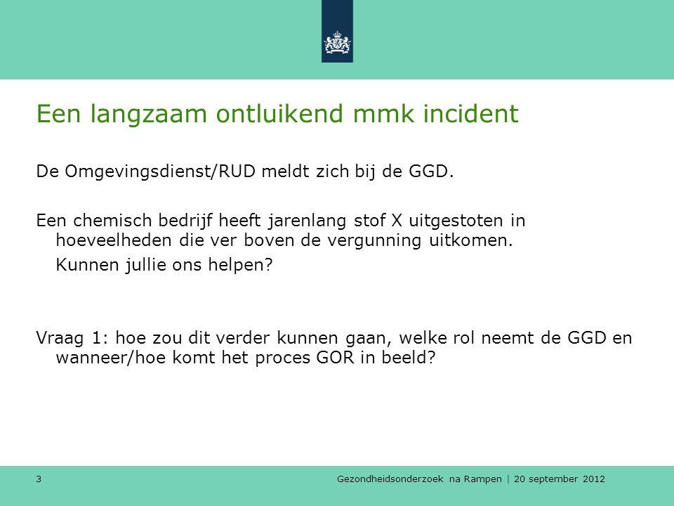 Gezondheidsonderzoek na Rampen | 20 september 2012 3 Een langzaam ontluikend mmk incident De Omgevingsdienst/RUD meldt zich bij de GGD.
