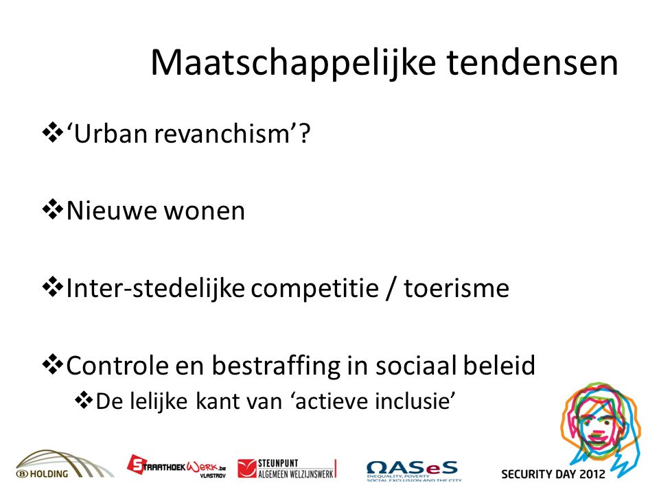 Maatschappelijke tendensen  'Urban revanchism'?  Nieuwe wonen  Inter-stedelijke competitie / toerisme  Controle en bestraffing in sociaal beleid 