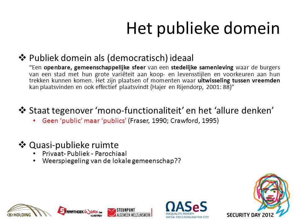 Het publieke domein  Publiek domein als (democratisch) ideaal Een openbare, gemeenschappelijke sfeer van een stedelijke samenleving waar de burgers van een stad met hun grote variëteit aan koop- en levensstijlen en voorkeuren aan hun trekken kunnen komen.