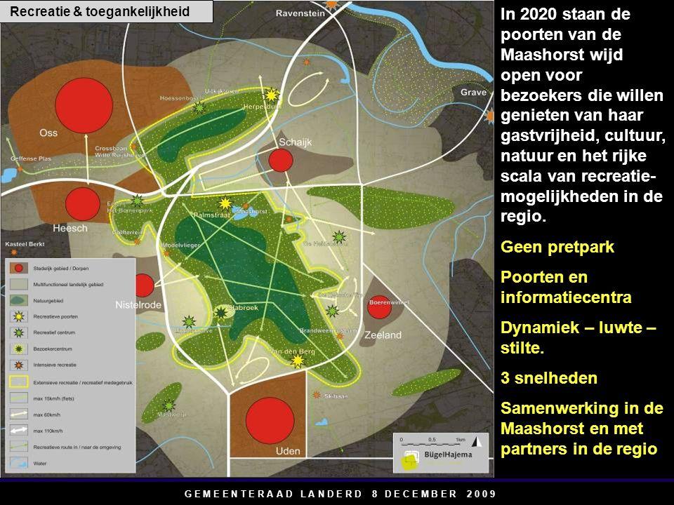 G E M E E N T E R A A D L A N D E R D 8 D E C E M B E R 2 0 0 9 In 2020 staan de poorten van de Maashorst wijd open voor bezoekers die willen genieten van haar gastvrijheid, cultuur, natuur en het rijke scala van recreatie- mogelijkheden in de regio.