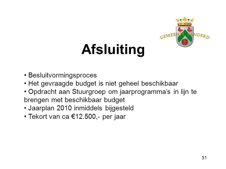 31 Afsluiting Besluitvormingsproces Het gevraagde budget is niet geheel beschikbaar Opdracht aan Stuurgroep om jaarprogramma's in lijn te brengen met beschikbaar budget Jaarplan 2010 inmiddels bijgesteld Tekort van ca €12.500,- per jaar