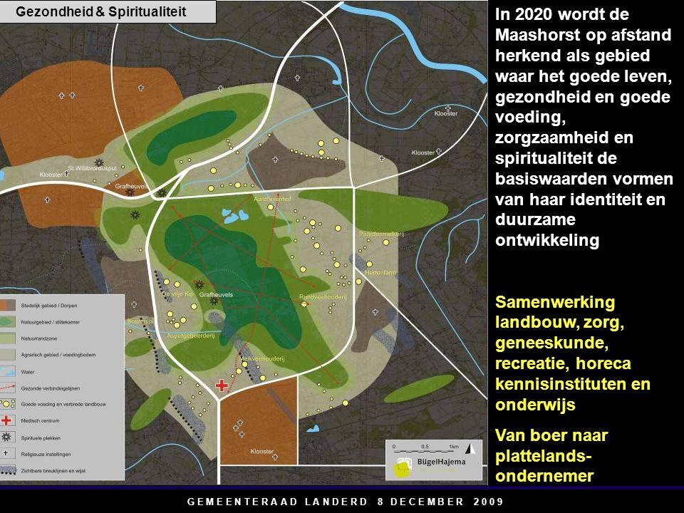 G E M E E N T E R A A D L A N D E R D 8 D E C E M B E R 2 0 0 9 In 2020 wordt de Maashorst op afstand herkend als gebied waar het goede leven, gezondheid en goede voeding, zorgzaamheid en spiritualiteit de basiswaarden vormen van haar identiteit en duurzame ontwikkeling Samenwerking landbouw, zorg, geneeskunde, recreatie, horeca kennisinstituten en onderwijs Van boer naar plattelands- ondernemer Gezondheid & Spiritualiteit