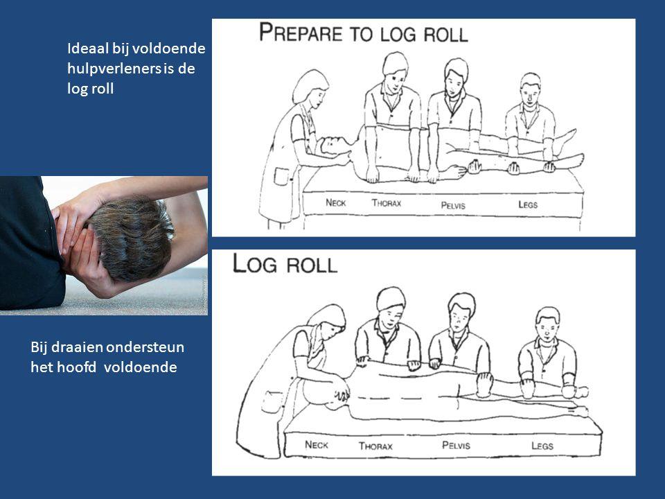 Ideaal bij voldoende hulpverleners is de log roll Bij draaien ondersteun het hoofd voldoende