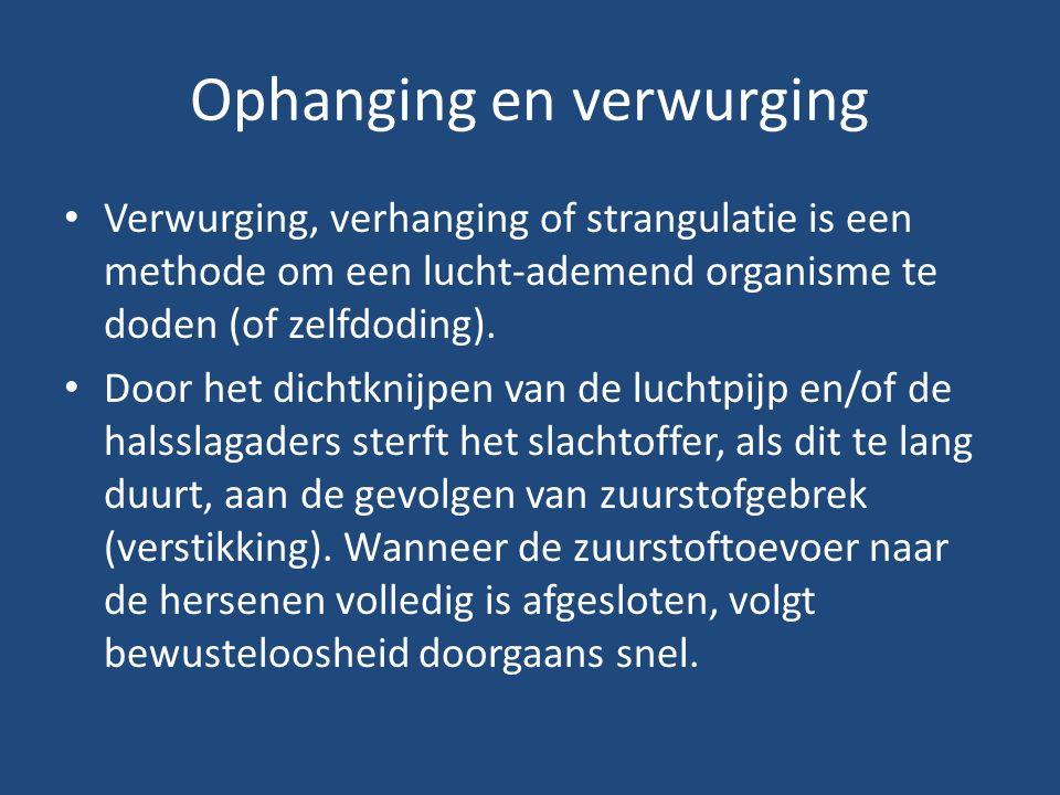 Ophanging en verwurging Verwurging, verhanging of strangulatie is een methode om een lucht-ademend organisme te doden (of zelfdoding). Door het dichtk