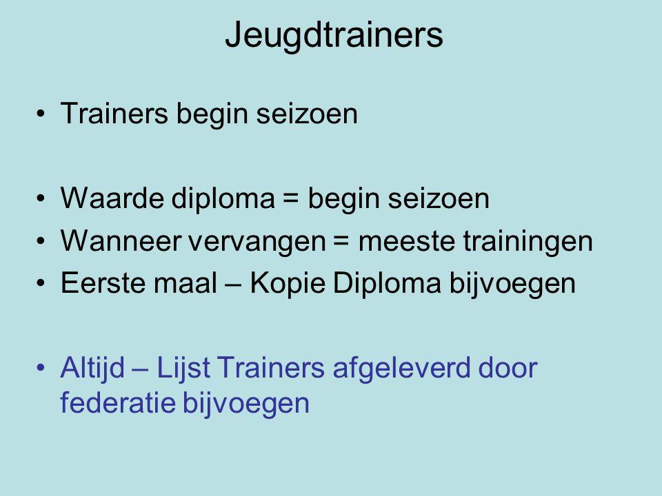 Jeugdtrainers Trainers begin seizoen Waarde diploma = begin seizoen Wanneer vervangen = meeste trainingen Eerste maal – Kopie Diploma bijvoegen Altijd