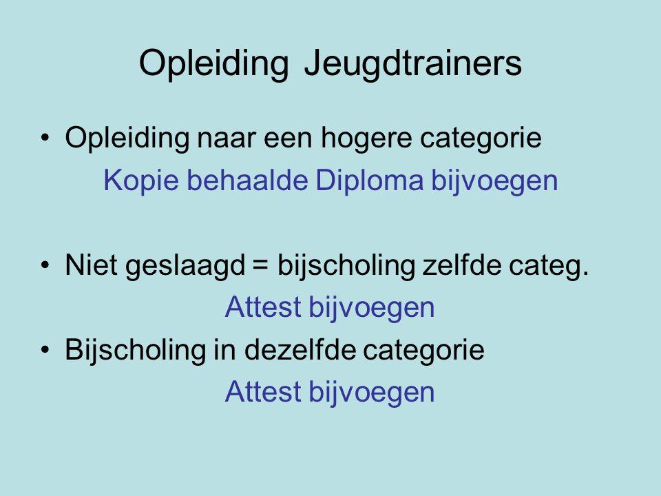 Opleiding Jeugdtrainers Opleiding naar een hogere categorie Kopie behaalde Diploma bijvoegen Niet geslaagd = bijscholing zelfde categ.