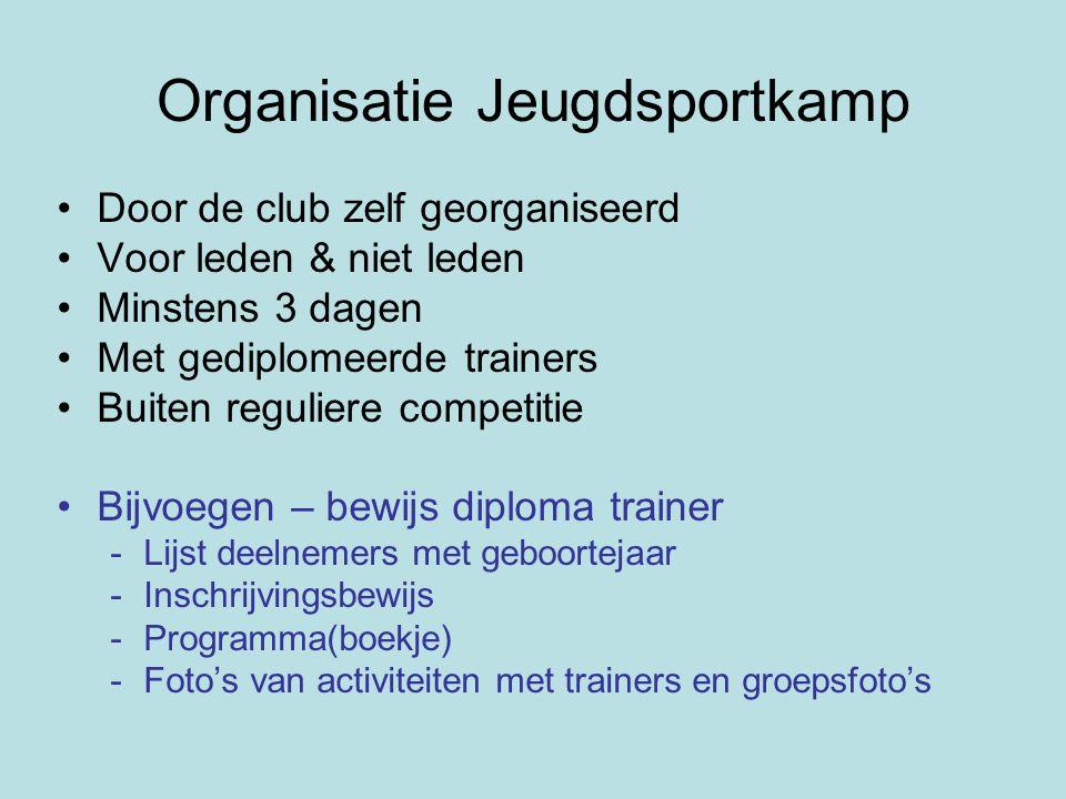 Organisatie Jeugdsportkamp Door de club zelf georganiseerd Voor leden & niet leden Minstens 3 dagen Met gediplomeerde trainers Buiten reguliere compet