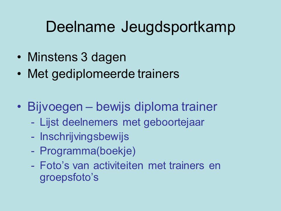 Deelname Jeugdsportkamp Minstens 3 dagen Met gediplomeerde trainers Bijvoegen – bewijs diploma trainer -Lijst deelnemers met geboortejaar -Inschrijvin