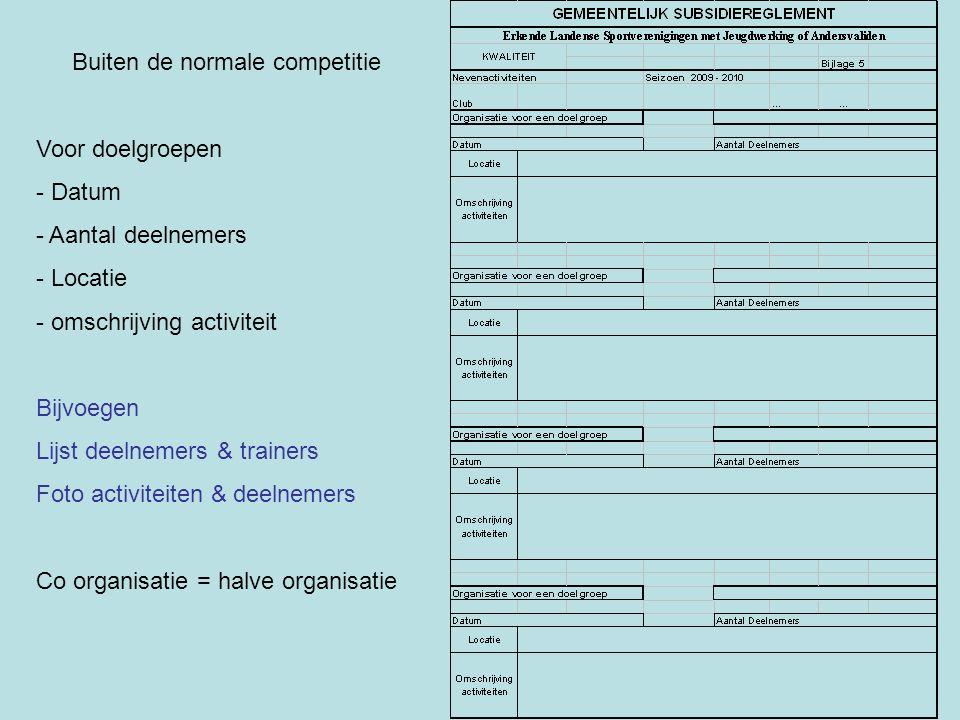 Buiten de normale competitie Voor doelgroepen - Datum - Aantal deelnemers - Locatie - omschrijving activiteit Bijvoegen Lijst deelnemers & trainers Fo