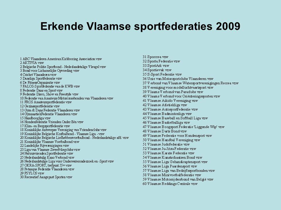 Erkende Vlaamse sportfederaties 2009