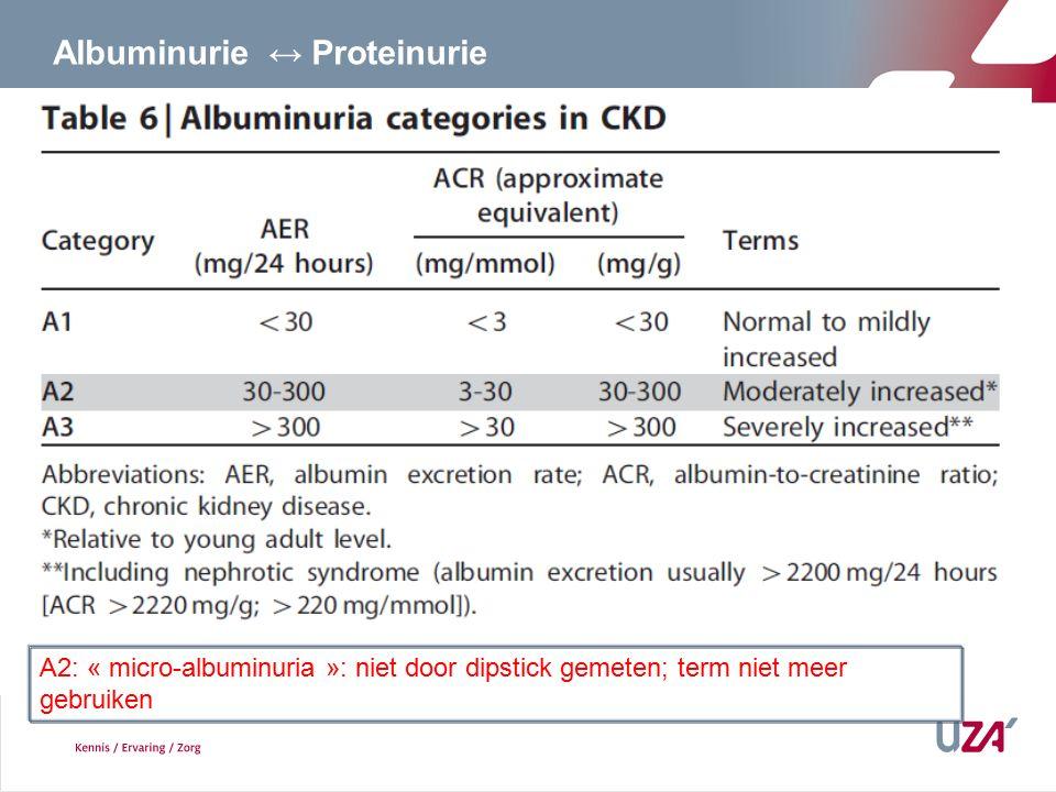 A2: « micro-albuminuria »: niet door dipstick gemeten; term niet meer gebruiken Albuminurie ↔ Proteinurie