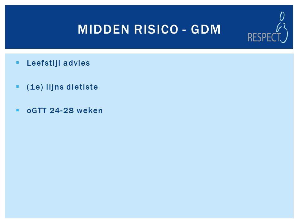  Leefstijl advies  (1e) lijns dietiste  oGTT 24-28 weken MIDDEN RISICO - GDM