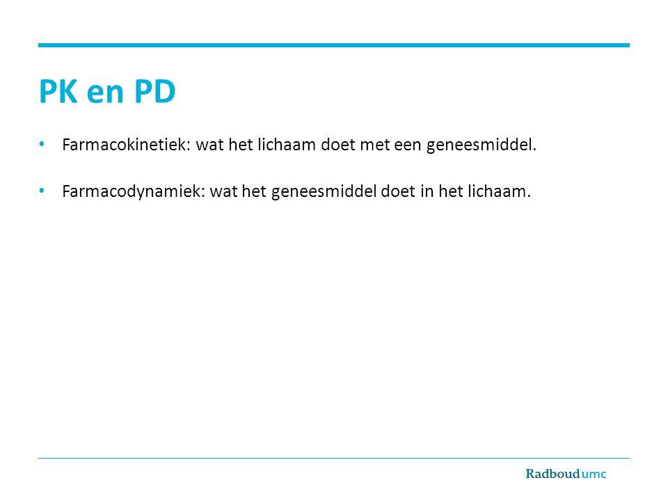 PK en PD Farmacokinetiek: wat het lichaam doet met een geneesmiddel.