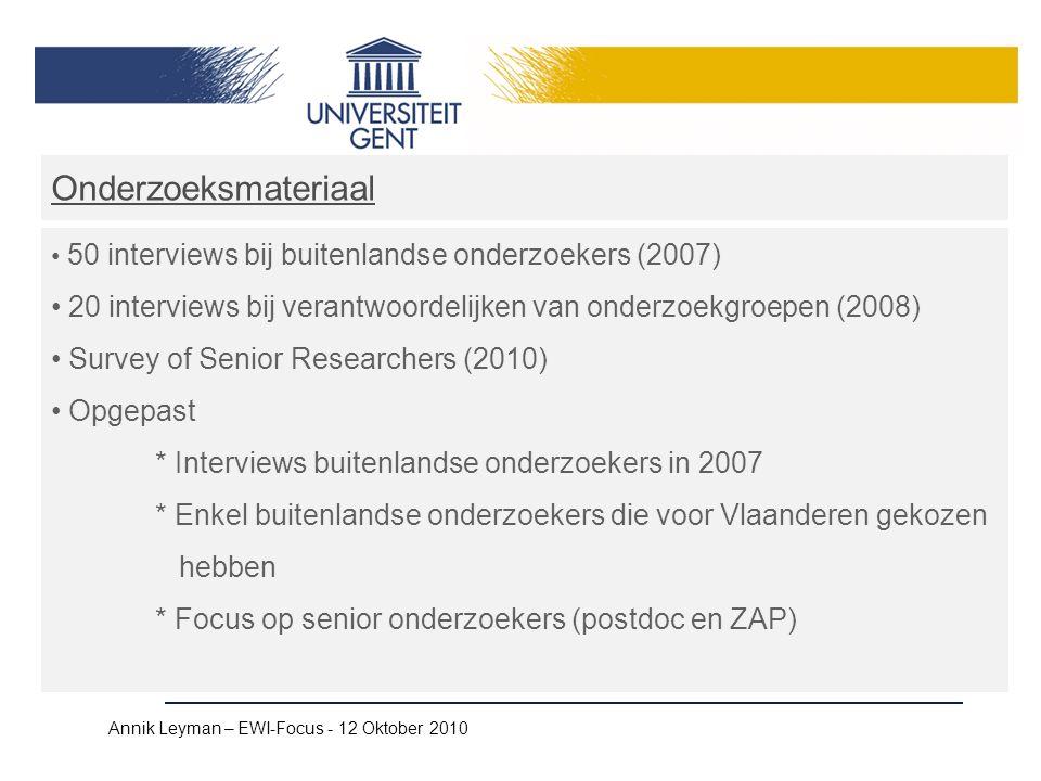 Annik Leyman – EWI-Focus - 12 Oktober 2010 Onderzoeksmateriaal 50 interviews bij buitenlandse onderzoekers (2007) 20 interviews bij verantwoordelijken van onderzoekgroepen (2008) Survey of Senior Researchers (2010) Opgepast * Interviews buitenlandse onderzoekers in 2007 * Enkel buitenlandse onderzoekers die voor Vlaanderen gekozen hebben * Focus op senior onderzoekers (postdoc en ZAP)