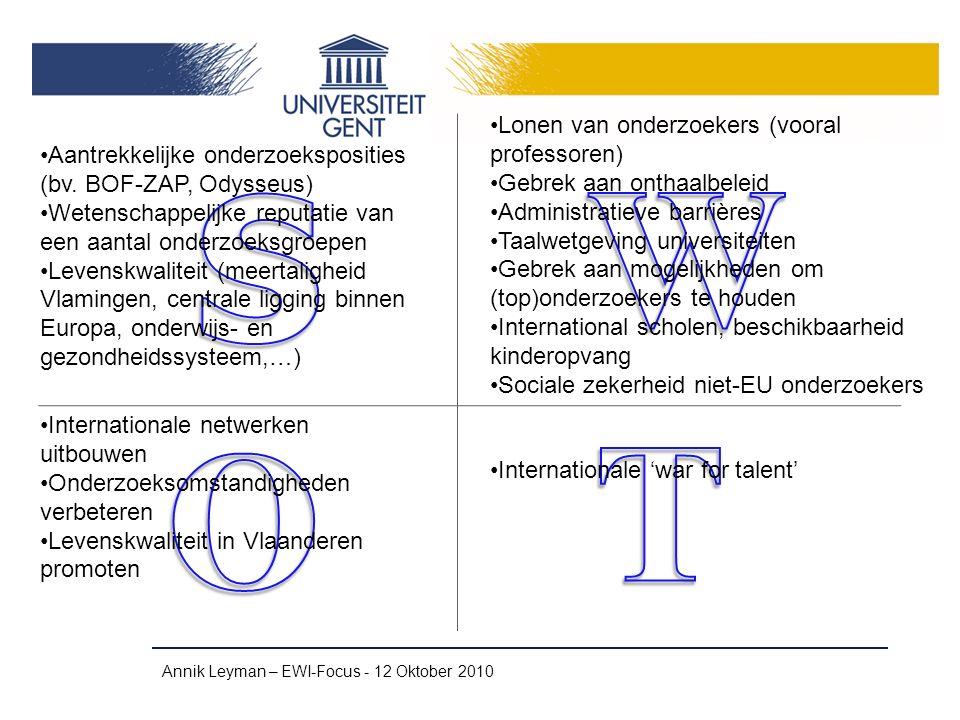 Contactgegevens en publicaties Annik Leyman – EWI-Focus - 12 Oktober 2010 Annik.Leyman@UGent.be ECOOM-UGent http://www.ecoom.be/doctoralcareers Levenskwaliteit van buitenlandse onderzoekers aan Vlaamse universiteiten en kenniscentra Very Important Brains: buitenlandse onderzoekers aan Vlaamse universiteiten en kenniscentra